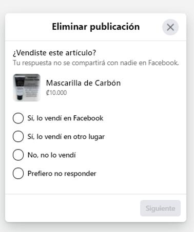 marketplace eliminar la publicación